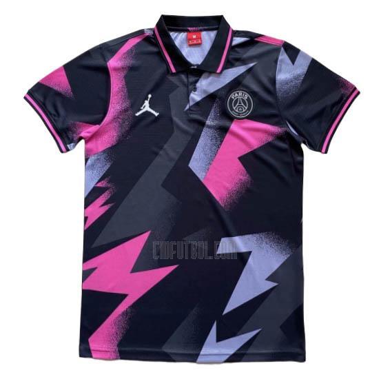 camiseta polo paris saint-germain rosa-negro 2020